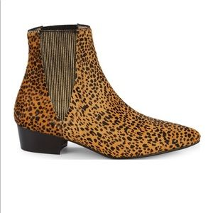 Pure Navy Hubert Leopard Calf-Hair Chelsea Boots